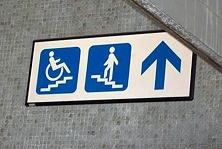 wheelchairs, please use stair to get to upper floor